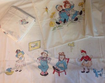 Raggedy Ann and Andy vintage 3pc twin sheet set