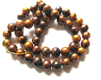 Fresh Water Pearls, 12 inch strand, 48 beads, 7mm, gold and bronze, Jewelry supply B-1933
