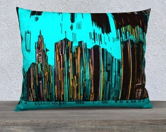 Cover 26 x 20 Pillow Case barcode City Montreal Turquoise Art Print pillow cover - Pillow Case, Mélanie Bernard painting