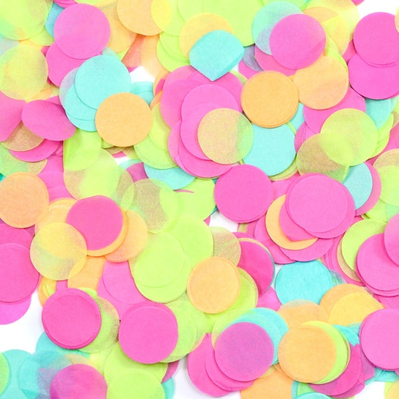 Tropical Tango Confetti, Pink Lime Green Yellow Confetti, Shred, Table Decor, Confetti Balloon, First Birthday Beach Island Summer Decor