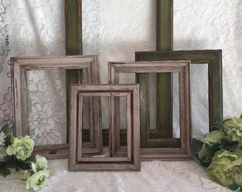 Farmhouse wall decor distressed frames Lot of 5 cream and green shabby hand painted Vintage