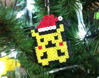 Pokemon Pikachu with Santa hat pixel bead perler sprite art holiday ornament in regular or mini beads