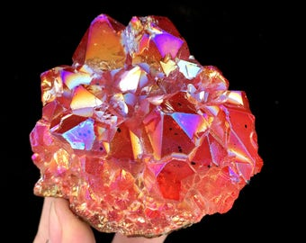 Free Shipping! Red Aura Quartz Amethyst Cluster Titanium Plated Crystal ,Crystal Healing,color-changing crystal   J269