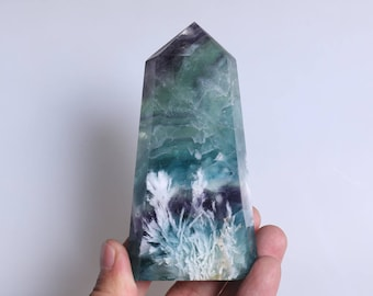 Rare Fluorite Flowers ,Fluorite Flowers Point,Fluorite Flowers Growth Within The White Fluorite,Fluorite Wand Point Healing J930