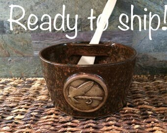 READY TO SHIP! Fly Fishing Dip Bowl, Dip Bowl Set, Dip Serving Bowl with Wooden Spreader Glazed in Wildfire