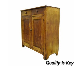 Antique 19th Century Rustic Primitive Solid Pine Dovetail Joined Cupboard Cabinet Vintage