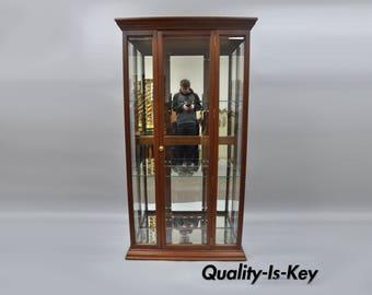 Mahogany Wood & Mirror Glass Display Curio China Cabinet Etagere Shelf 74 x 40