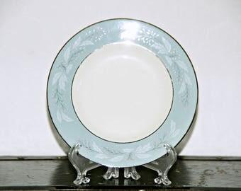 Homer Laughlin, Cavalier Romance, Bread Plate, 6.5 Inch, Aqua Blue Rim, White Leaves, Pink Berries, 1950s, 1960s, Cottage Chic, Springtime