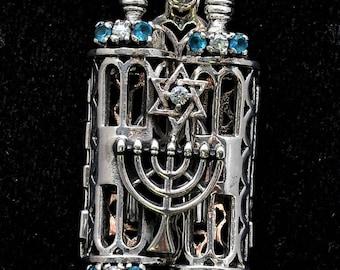 Summer Sale - Torah Book Pendant Sterling Silver 925 Neck Chain