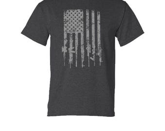 Tattered Distressed American Flag Military Rifle T Shirt