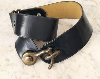 Cintura blu gotica/ Cintura vera pelle blu / Cintura steam punk vita alta / Cintura pelle blu fibbia