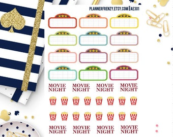 40 Movie Night Planner Stickers! AE301