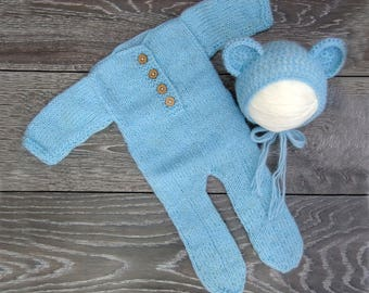 Newborn footed romper, fairytale gift, Newborn outfit, Footed romper, Newborn bonnet, Teddy bonnet, Mohair outfit, Mohair set Knitted outfit