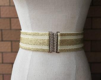 2 inch ivory/Gold belt,Elastic belt,Stretch Belt,Cinch BeltWaist belt, Elastic waist belt,Waist belt -(JF)810/