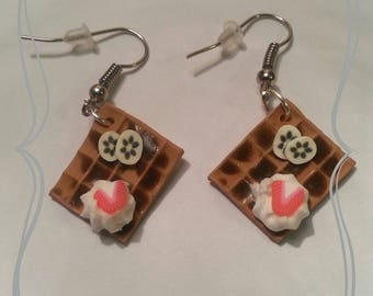 "Earrings fimo ""Waffle gourmet chocolate whipped cream"""
