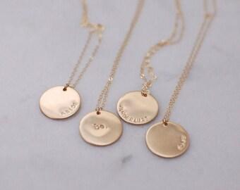 Customized Large 14 Karat Gold Filled Circle Necklace