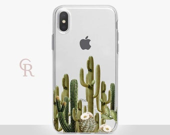 Cactus Clear Phone Case For iPhone 8 iPhone 8 Plus iPhone X Phone 7 Plus iPhone 6 iPhone 6S  iPhone SE Samsung S8 iPhone 5 Floral iPhone 4