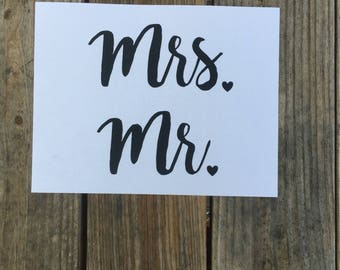 Set of 2~ Mr. & Mrs. Iron-On Vinyl Decal~ Glitter Iron-On Vinyl Decal~ Iron-On Vinyl Decal ~ DIY WEDDING Decal