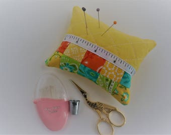 Patchwork Pincushion, Pin Cushion, Quilted Pincushion, Sewing Gift.