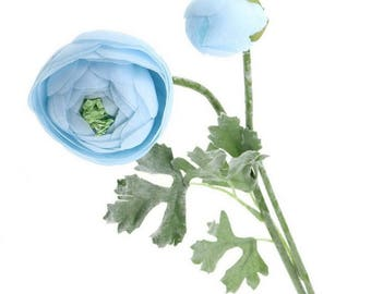 Artificial Elegant Blue Ranunculus Flower Lotus On Land for Home, Wedding Decoration  TV / Film Props Table Toppers, Photography : Pack of 6