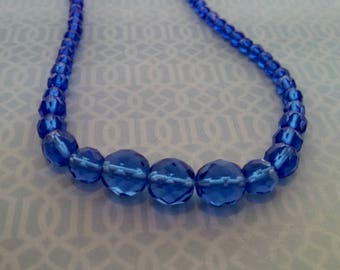 Vintage Necklace, Cobalt Blue Graduated Glass Beads, Spring Clasp, Mid Century Style, Circa 1970s, Includes Gift Box