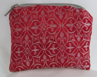 Small Red and Silver Brocade and Satin Coinpurse Coin Purse Pendulum Crystals Zipper Bag Pouch Fancy