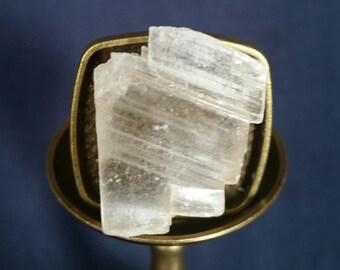 LARGE Selenite Crystal Ring // Crystal Meditation Ring // Raw Selenite Ring // Unisex Ring // Gift for Him // White Selenite Healing Ring