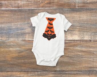 Halloween Boys Tie Baby Bodysuit or Toddler Shirt