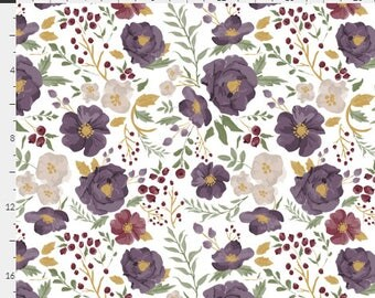 Floral Curtains / Blackout Curtains / Nursery Curtains / Purple Floral Curtains / Saturated Autumn Meadow / Bedroom Curtains / Floral Drapes