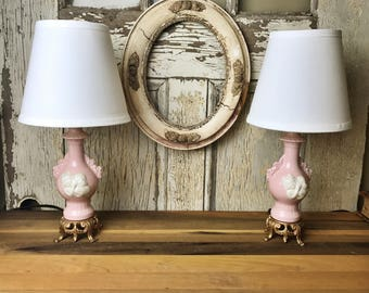 Shabby Chic Lamps, Vintage Lamp,  Set of Pink Lamps, Victorian Style Lamps, Pink Lamps