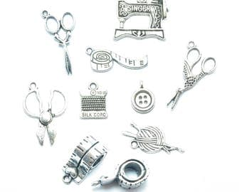 Buttons 40 charms scissors meter couture silver matte