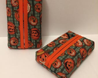 Halloween Personal Tissue Cover, pumpkins-Trendy print,Personal size, purse size, pocket size, travel size,N STOCK, ready to ship