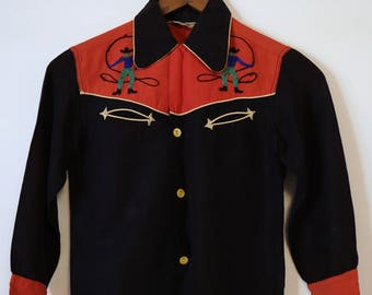 Vintage 1950s 50 western cowboy rodeo The Little Champ of Hollywood Made in California shirt size 10