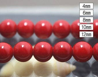 4-12mm Mountain Jade Smooth Round Beads, Red beads 15 inch per strand ( 4mm 6 mm 8mm 10mm 12mm )