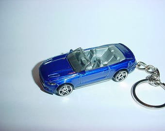 3D 2015 Ford Mustang GT conv custom keychain by Brian Thornton keyring key chain finished in blue color trim diecast metal body