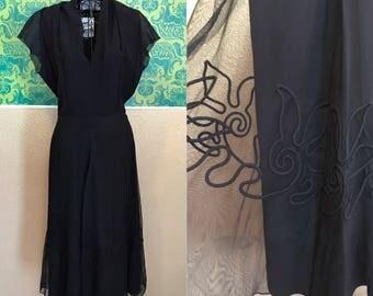 Vintage 1940s Dress - Black Samuel Grossman Dress with 3D Soutache Design - M