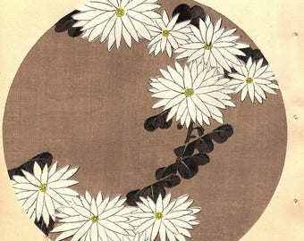 "Japanese antique woodblock print, Ito Jakuchu, ""Chrysanthemum, from Jakuchu gafu"""