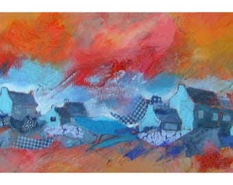 blue orange landscape painting abstract art painting acrylic large elongated collage