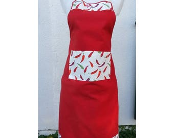 Beautiful Basque country cotton kitchen apron!