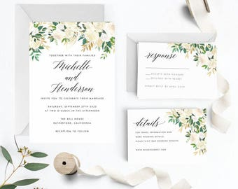 Modern Greenery Wedding Invitation Suite, Wedding Invitation Printable, Invitation Set, Invitation Rustic, Letter or A4 (Item code: P1056)