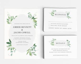 Botanical Wedding Invitation Suite, Wedding Invitation Printable, Invitation Set, Wedding Invitation Rustic, Letter or A4 (Item code: P701)