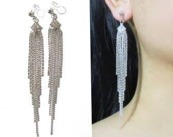 Clear Rhinestone Clip On Earrings |32E| Silver Chain Crystal Chandelier Tassel Clip On Earrings Bridal Dangle Clip Earrings Long Clip-ons