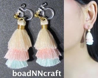 Invisible Clip-ons |39F| Cream Pink Mint Colorblock Tiered Mini Tassel Clip on Earrings, Colorful Fun Non Pierced Dangle Long Clip Earrings
