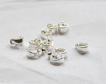 findings jewelry silver plated, set of 10 bails with stem for Pearl or other items
