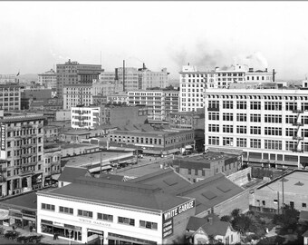 Poster, Many Sizes Available; Panoramic View Of Downtown Los Angeles, Looking East With The 8Th Street And Olive Street Intersection In View