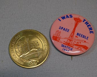1962 Seattle World's Fair Coin and Button Duo
