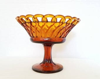Vintage Amber Glass Compote,Amber Lace Edge Dish,Old Colony Pedestal Dish,Amber Glass Fruit Bowl,Lace Edge Compote,Depression Glass,1960s