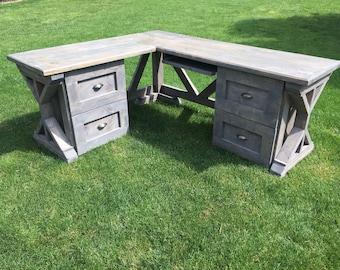 Rustic corner desk