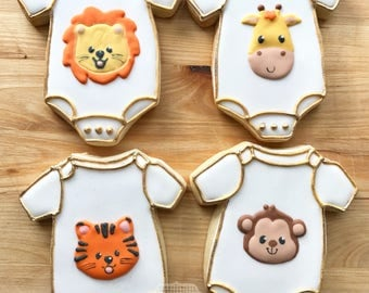 Baby Onesie Decorated Cookies -  One Dozen Safari Animal Baby Shower Cookies