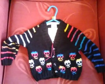 Hand knitted Skull themed cardigan to fit a baby boy aged 6-12 months old